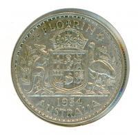 Image 1 for 1954 Australian Florin VF
