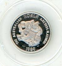 Image 2 for 1989 $5 Platinum One Twentieth oz Proof Issue Koala in Capsule
