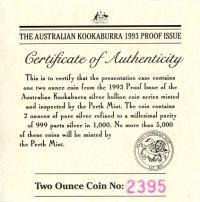 Image 4 for 1993 2oz Kookaburra Proof