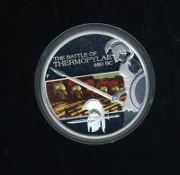 Image 2 for 2009 Tuvalu Famous Battles In History 1oz Coloured Silver Proof - Thermopylae