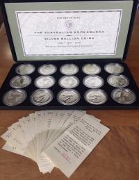 Image 1 for 1996 1997 1998 Australian 15 x 1oz Silver Kookaburra Coin Set - European Countries Privy Marks