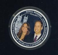 Image 1 for 2011 Royal Wedding H.R.H. Prince William of Wales and Catherine Middleton Coloured 1oz Silver Proof Coin
