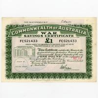 Image 1 for October 1945 £1 War Savings Cerrtificate FC521433