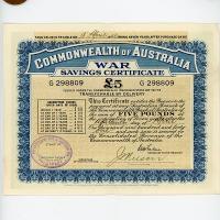 Image 1 for 1941 £5 War Savings Certificate G298809 Haymarket