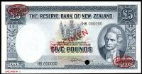 Image 1 for 1960 New Zealand Specimen Five Pound - Fleming H8 000000 UNC