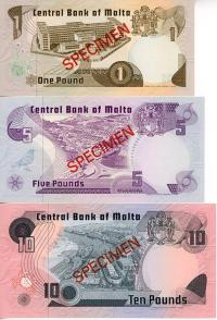 Image 2 for 1967 Malta Set of 3 Specimen Notes UNC 1,5,10