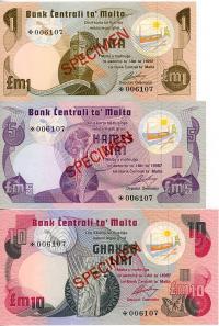 Image 1 for 1967 Malta Set of 3 Specimen Notes UNC 1,5,10
