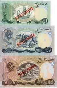 Image 2 for 1977 Northern Ireland Set of 3 Specimen Notes UNC 1,5,10