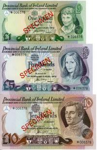 Image 1 for 1977 Northern Ireland Set of 3 Specimen Notes UNC 1,5,10