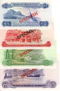 Image 2 for 1978 Mauritius Set of 4 Specimen Notes UNC 5,10,25,50