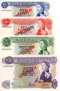Image 1 for 1978 Mauritius Set of 4 Specimen Notes UNC 5,10,25,50