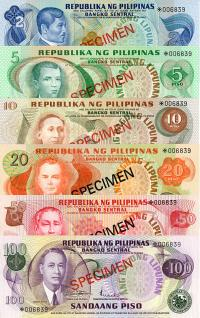 Image 1 for 1978 Philippines Set of 6 Specimen Notes UNC 2,5,10,20,50,100