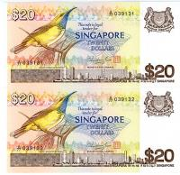Image 1 for 1979 Singapore Consecutive Pair Twenty Dollar Notes UNC A77 039131-32