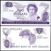Image 1 for 1980 New Zealand Uniface Colour Trial Two Dollar - UNC and Rare