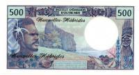 Image 2 for 1980 New Hebrides 500 Francs Note 12366