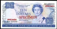 Image 1 for 1981 New Zealand Specimen Ten Dollar - Hardie NAA 000000 UNC