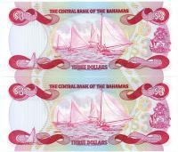 Image 2 for 1984 Bahamas Consecutive Pair Three Dollar Note UNC A535343-44