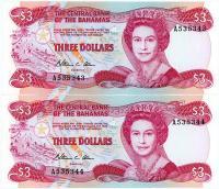 Image 1 for 1984 Bahamas Consecutive Pair Three Dollar Note UNC A535343-44
