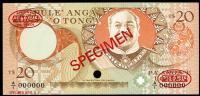 Image 1 for 1985 Tonga Specimen Twenty Pa'anga A1 000000 UNC