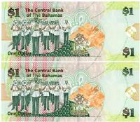 Image 2 for 2008 Bahamas Consecutive Pair One Dollar Note UNC AM 512366-67