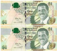 Image 1 for 2008 Bahamas Consecutive Pair One Dollar Note UNC AM 512366-67