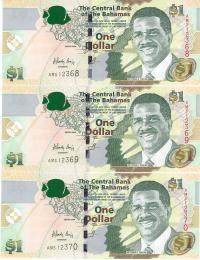 Image 1 for 2008 Bahamas Consecutive Trio One Dollar Note UNC AM5 12368-70