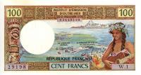 Image 1 for 1970's Tahiti 100 cent Franc EF