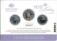 Image 1 for 2016 Frosted UNC 3 Coin Set - Her Majesty The Queen 90th Birthday