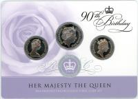 Image 2 for 2016 Frosted UNC 3 Coin Set - Her Majesty The Queen 90th Birthday