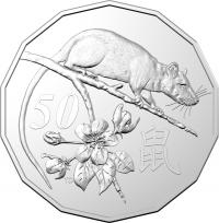 Image 3 for 2020 Lunar Year of the Rat Uncirculated Fifty Cent Tetra Decagon Series