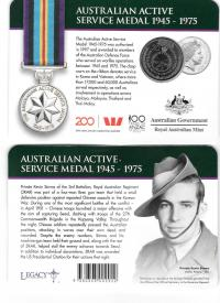 Image 1 for 2017 Legends of the ANZACS - Australian Active Service Medal 1945-1975