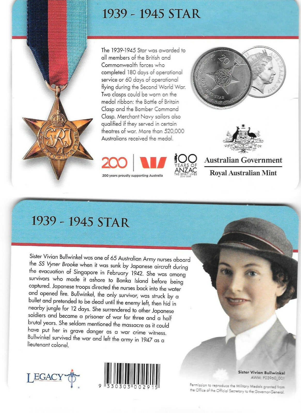 Thumbnail for 2017 Legends of the ANZACS - 1939-1945 Star