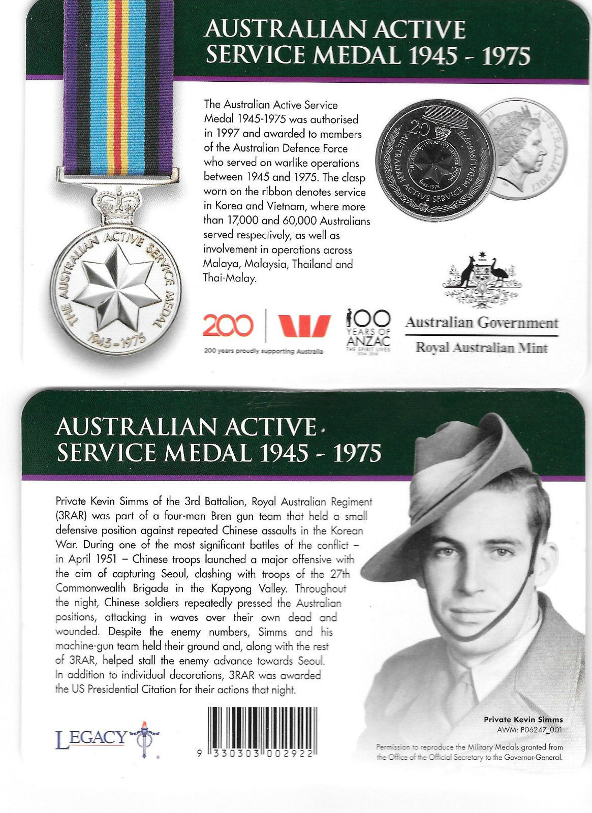Thumbnail for 2017 Legends of the ANZACS - Australian Active Service Medal 1945-1975
