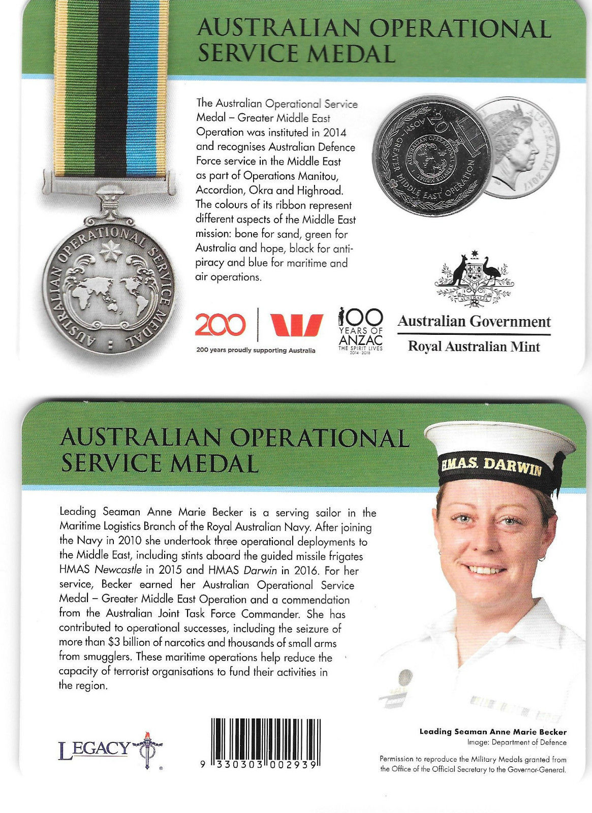 Thumbnail for 2017 Legends of the ANZACS - Australian Operational Service Medal
