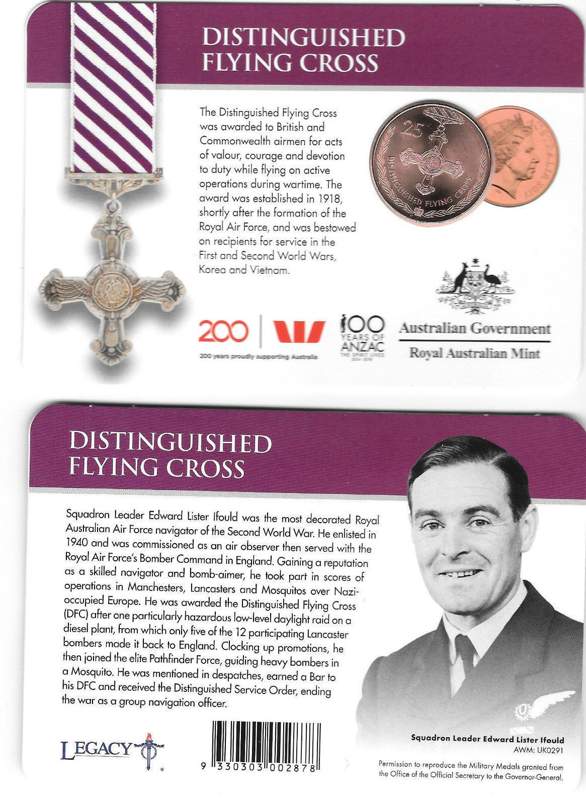Thumbnail for 2017 Legends of the ANZACS - Distinguished Flying Cross