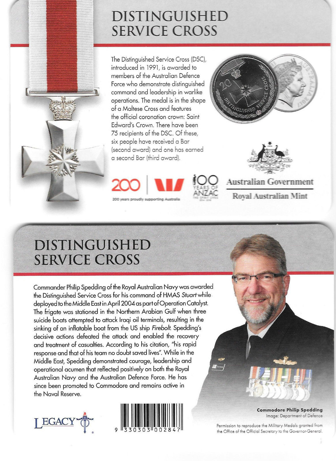 Thumbnail for 2017 Legends of the ANZACS - Distinguished Service Cross