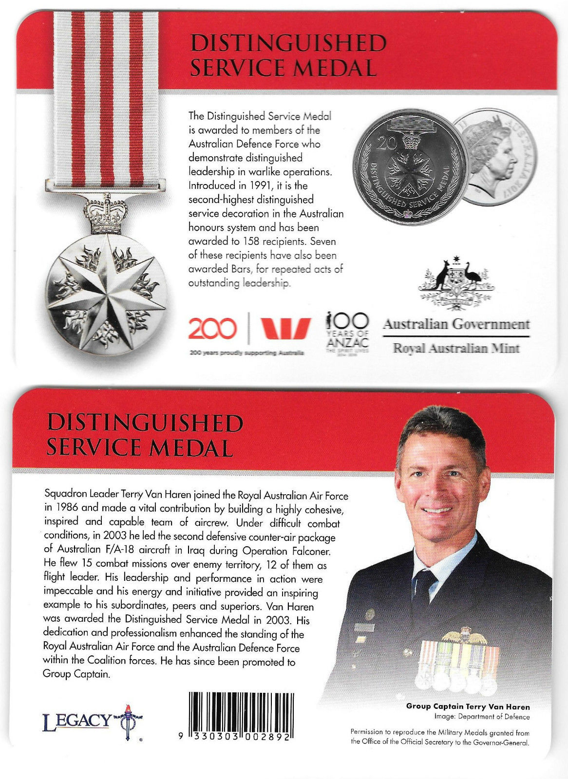 Thumbnail for 2017 Legends of the ANZACS - Distinguished Service Medal