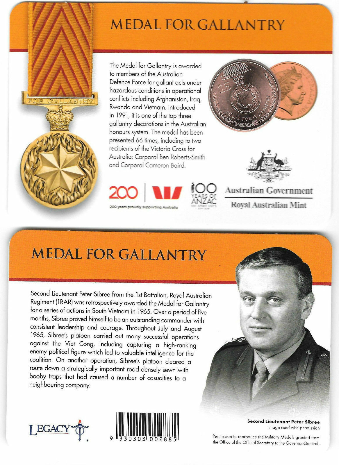 Thumbnail for 2017 Legends of the ANZACS - Medal for Gallantry