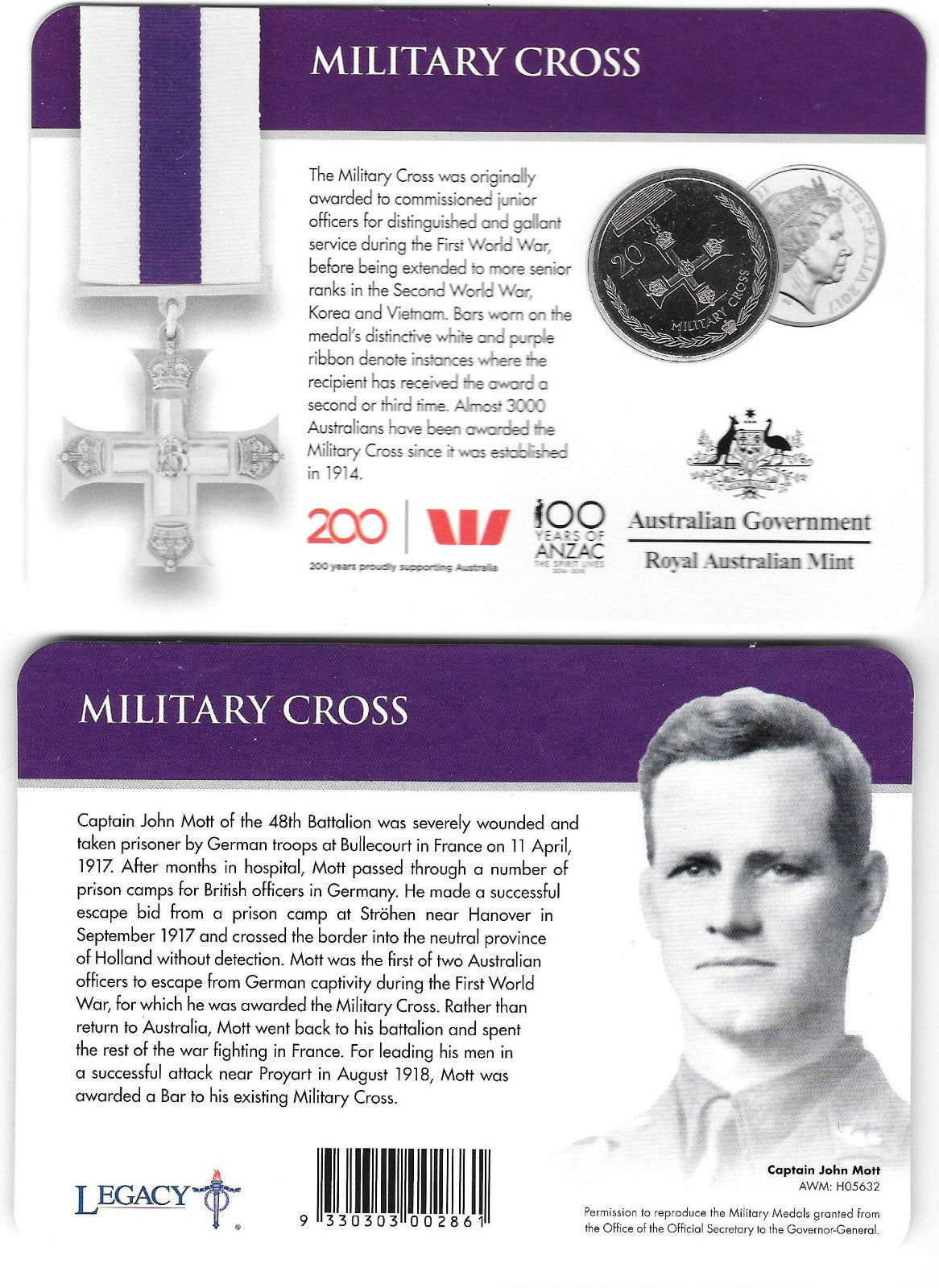 Thumbnail for 2017 Legends of the ANZACS - Military Cross