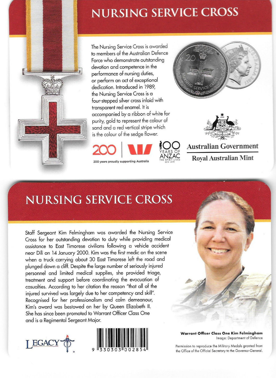 Thumbnail for 2017 Legends of the ANZACS - Nursing Service Cross