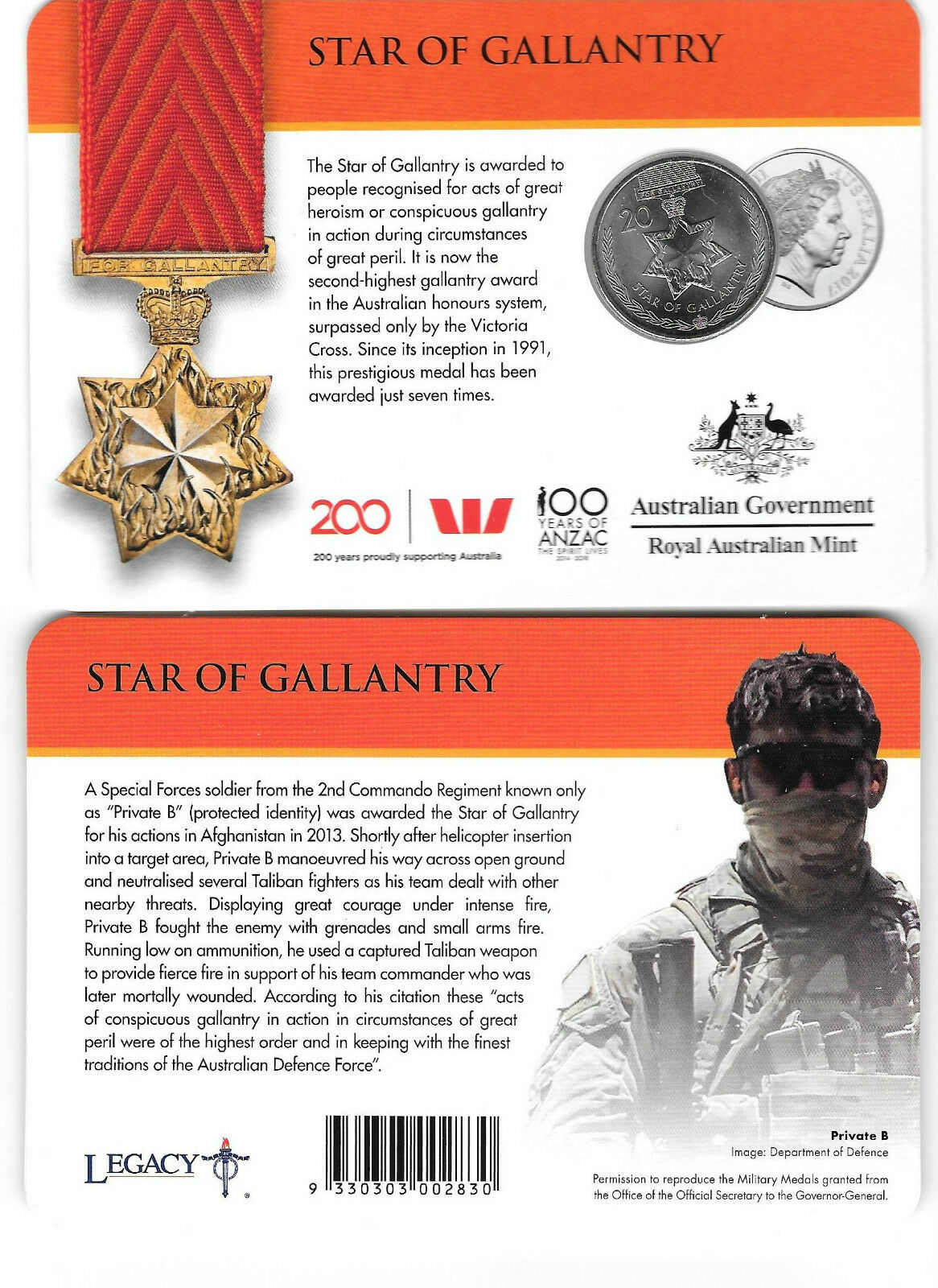 Thumbnail for 2017 Legends of the ANZACS - Star of Gallantry