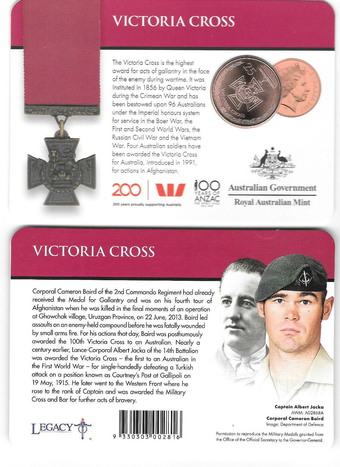 Thumbnail for 2017 Legends of the ANZACS - Victoria Cross