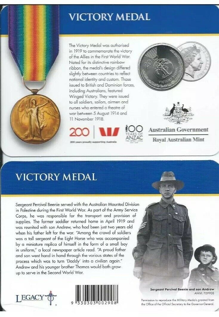 Thumbnail for 2017 Legends of the ANZACS - Victory Medal