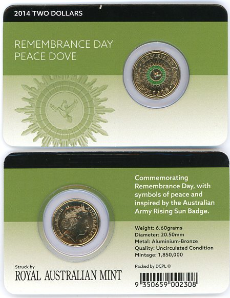 Thumbnail for 2014 $2.00 Remembrance Day - Peace Dove