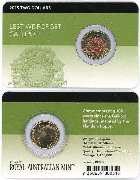Thumbnail for 2015 $2.00 Lest We Forget - Gallipoli on DCPL Card