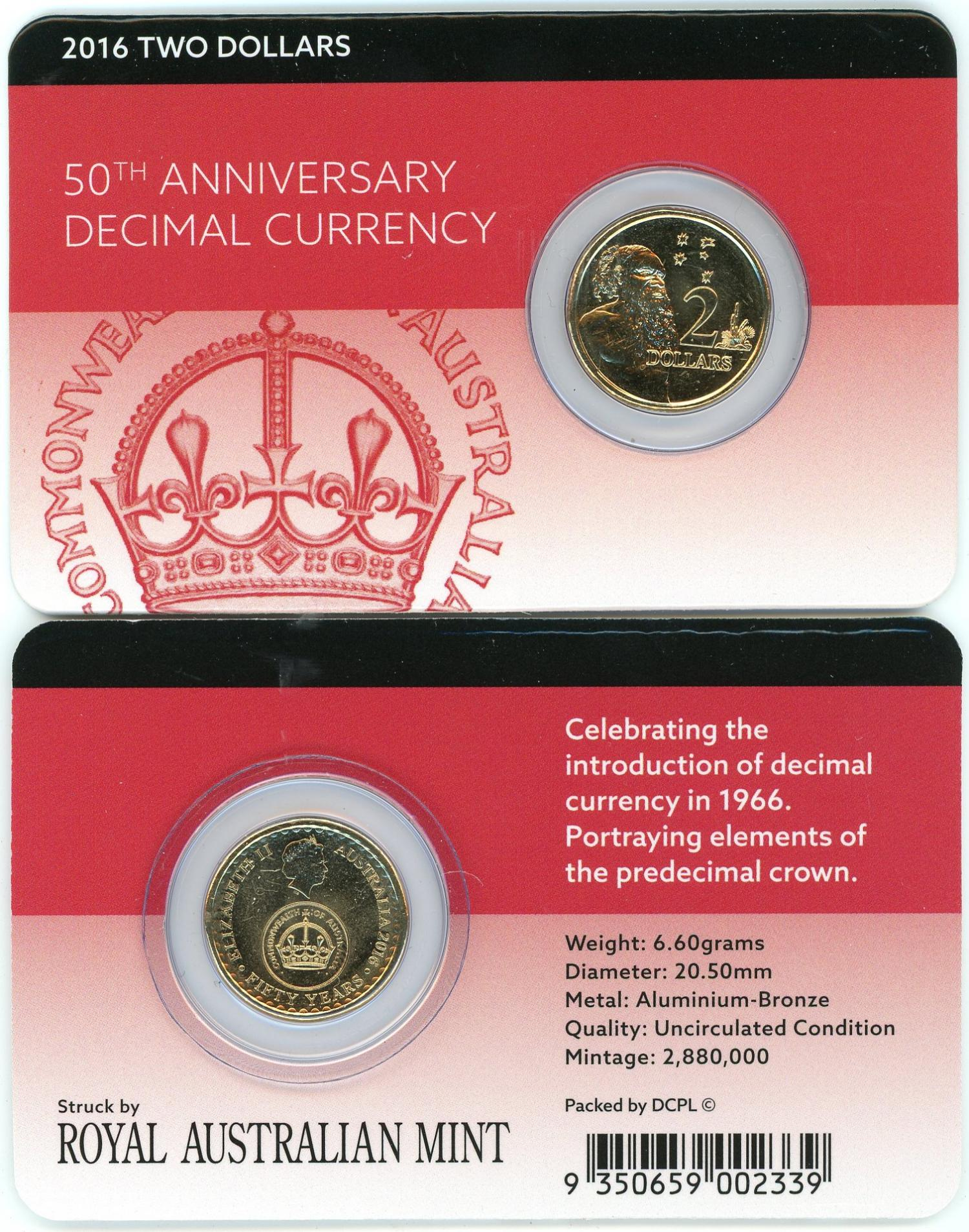 Thumbnail for 2016 $2 50th Anniversary of Decimal Currency DCPL Card