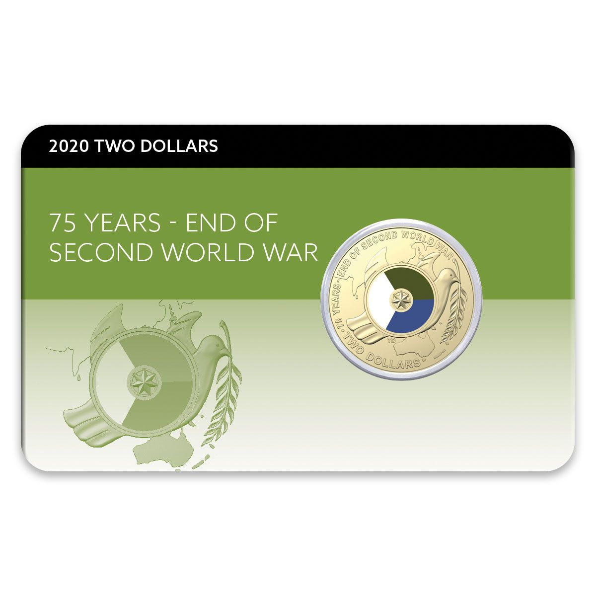 Thumbnail for 2020 Coloured $2.00 - 75th Anniversary of the End of Second World War ( End of WWII ) DCPL Card