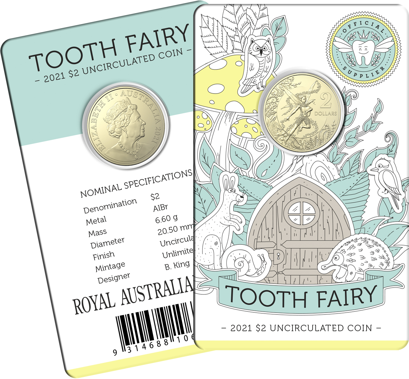 Thumbnail for 2021 $2 Tooth Fairy UNC Coin on Card