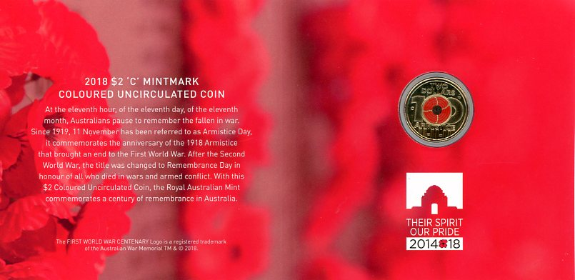 Thumbnail for 2018 Remembrance Day - Armistice Centenary $2 'C' Mintmark Coloured Uncirculated Coin